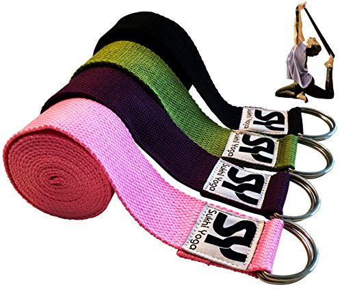 Sukhi Yoga Super Soft Yoga Strap with D Ring, Perfect for Stretching, Holding Poses, Improving Flexibility and Physical Therapy