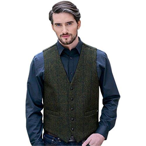 Mucros Weavers Classic Men's Tweed Vest, 100% Irish Wool, Made In Ireland, Green, Medium - Irish Tweed Jackets