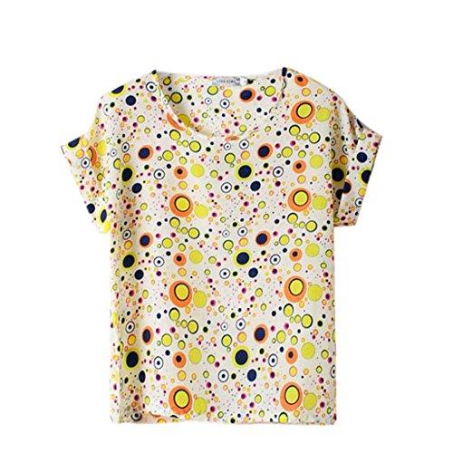 mousseline ROPaLIA pour femme chauve longues Tops ample shirt souris Jaune Bubbles soie Fille Yellow manches de Multicolors d't en E1gpqH1