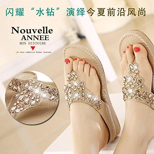 estudiante con 36 moda fresco 2017 plano marea Gradiente verano zapatos fondo playa femenino de de bohemias zapatillas chanclas diamante de 6HtqtOd