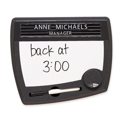 Quartet Tack and Write Nameplate, 9 x 10.5 x .75 Inches, Black (25035)