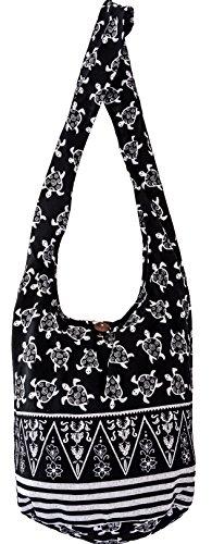 friendly BAG shopping sustainable body Cross Black Turtle prints COTTON 40 eco over bag living Sling q41wCvU