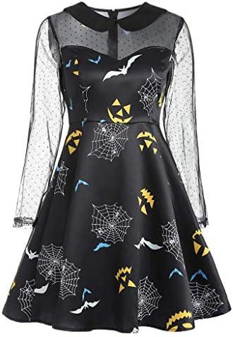 ハロウィン ワンピース コスプレ 仮装 大人 レディース 長袖 クモの巣 コウモリ かぼちゃ aライン ミニドレス 視点 レース