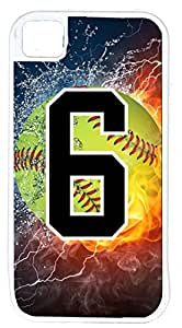 Flaming Softball Sports Fan Player Number 6 White Rubber Hybrid Tough Case Decorative iPhone 5c Case