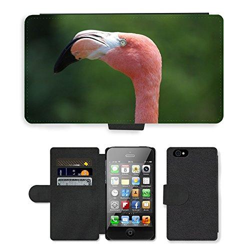 Just Phone Cases PU Leather Flip Custodia Protettiva Case Cover per // M00127266 Flamingo Tropical Couleur Rose Oiseau // Apple iPhone 4 4S 4G
