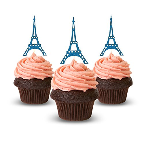 Cup Cake Topper Eiffel Tower, Paris Birthday Ideas, Glitter Card Stock Color Blue 12pc