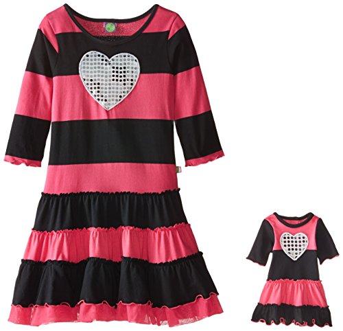s' Sequin Heart Fashion Dress, Pink/Black, 10 ()