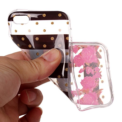 Coque iPhone 5C rose rouge Premium Gel TPU Souple Silicone Transparent Clair Bumper Protection Housse Arrière Étui Pour Apple iPhone 5C + Deux cadeau