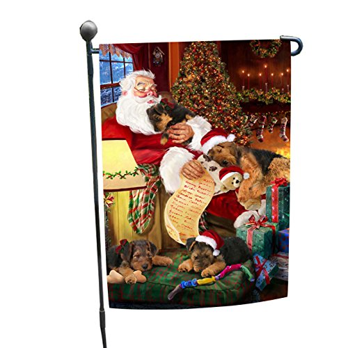 Airedale Dog and Puppies Sleeping with Santa Garden Flag - Airedale Puppy Dog