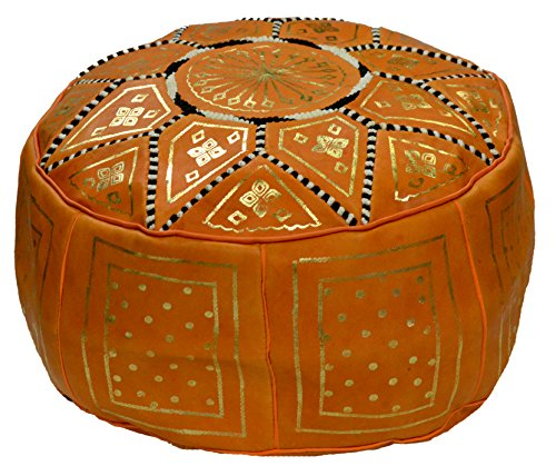 Moroccan Pouf Ottomans Hand Made Leather Luxury Footstools Cover Yellow by Moroccan Poofs