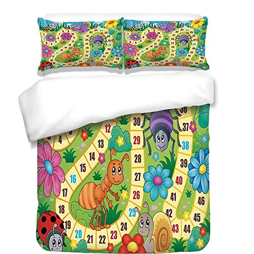 3Pcs Duvet Cover Set,Board Game,Various Kinds of Animals Bee Butterfly Ant Ladybug Kids Theme Spring Meadow Decorative,Multicolor,Best Bedding Gifts for Family/Friends