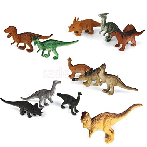 12 Mixed Dinosaur Toys Playset Christmas Stocking Filler Party Props Figures by uptogethertek