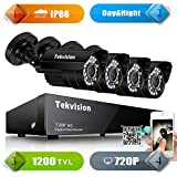 Tekvision 8CH 1200TVL 720P HD DVR Security Camera Outdoor Surveillance System Kits with 4 Pack Day&Night IR Cut CCTV Bullet Cameras (No Hard Disk included)