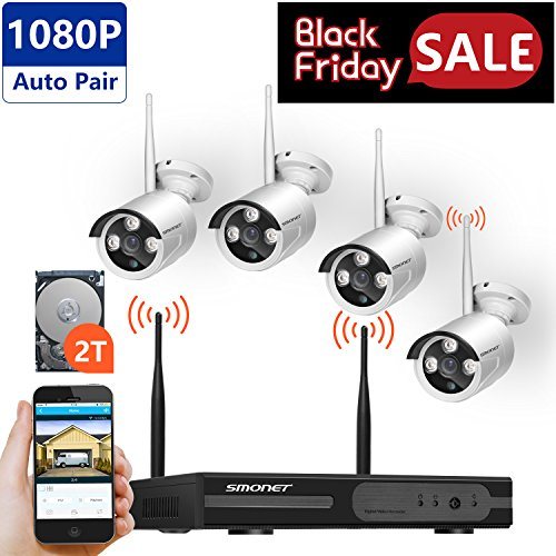[Full HD]Wireless Security Camera System,SMONET 4CH 1080P Wireless Video Security System with 2TB HDD(WIFI NVR KIT),4pcs 1080P Indoor/Outdoor Wireless IP Cameras,P2P,65ft Night Vision,Easy Remote View by SMONET
