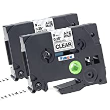 """Fimax 2 pack Compatible Brother TZe-121 TZe121 P-touch Label Tape 9mm 3/8 Inches (0.35"""") Black on Clear Standard Laminated Tape TZ-121"""