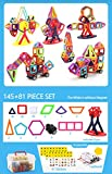 145+81 Pieces Magnetic Building Blocks Set Educational Construction Stacking Toys Car Wheel Set For Boys Girls, Magnet Tiles Kits For Kids
