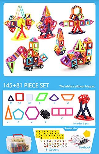 145+81 Pieces Magnetic Building Blocks Set Educational Construction Stacking Toys Car Wheel Set For Boys Girls, Magnet Tiles Kits For Kids by Amperer