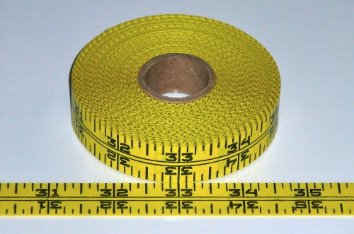 (Adhesive Continuous Ruler Roll Tape – Fractional – 3/4 Inch Wide, 36 Inch Long X 35 Repeats – Dual Directional – Yellow)