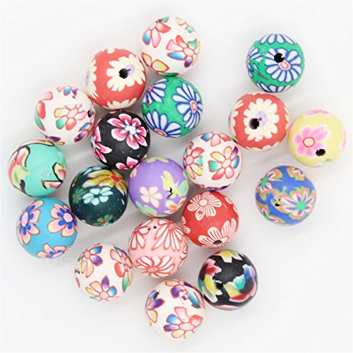 60x Mixed Round Flower FIMO Polymer Clay Beads Findings 12mm Spacer Beads Findings Clay Flower Spacer