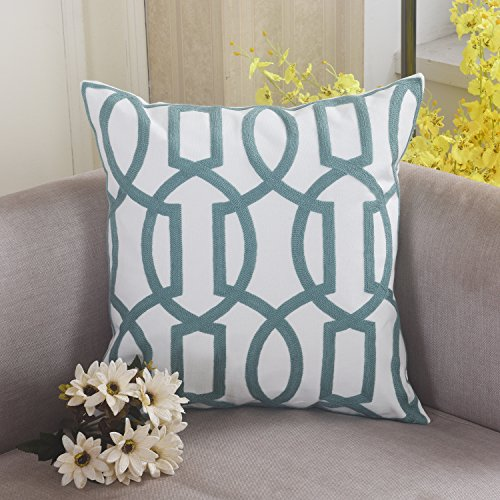 Home Brilliant Modern Pillowcase Embroidery Cushion Cover for Chair, Trellis Wave Design, 18x18, Turquoise