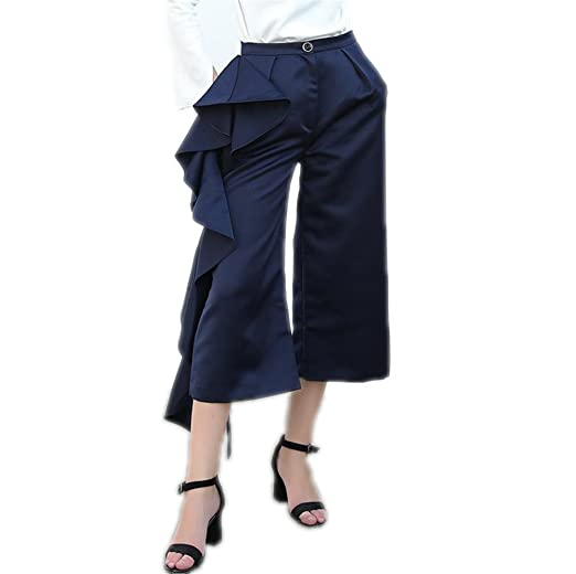 12285f9b14b3 GAEGGR Ruffle Navy Trousers For Women High Waist Wide Leg Pants Female  Casual Bottoms Navy S