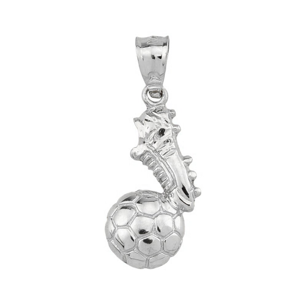 High Polished 925 Sterling Silver Soccer Ball With Shoe Charm Claddagh Gold KQ1098S