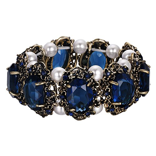 - BriLove Antique-Gold-Toned Bracelet Simulated Pearl Crystal Victorian Style Multi Floral Cameo Inspired Oval Stretch Bracelet for Women Sapphire Color