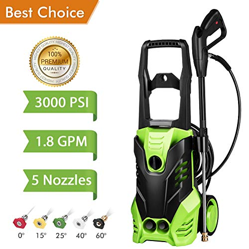 Flagup 3000 PSI Electric Pressure Washer, High Pressure Washer, Professional Washer Cleaner Machine with 5 Interchangeable Nozzles, 1800W Rolling Wheels,1.80 GPM (3000PSI Pressure Washer)
