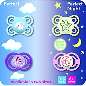 MAM Perfect Night Pacifiers, Glow in the Dark Pacifiers (2 pack) MAM Pacifiers 6 Plus Months, Best Pacifier for Breastfed Babies, Baby Girl Pacifier, Purple and Pink
