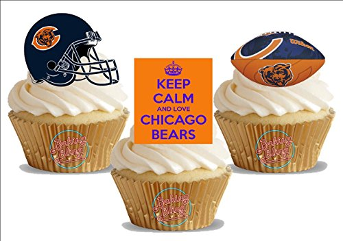 American Football Chicago Bears Trio Mix - Fun Novelty Birthday PREMIUM STAND UP Edible Wafer Card Cake Toppers Decoration (Chicago Bears Cake Topper)