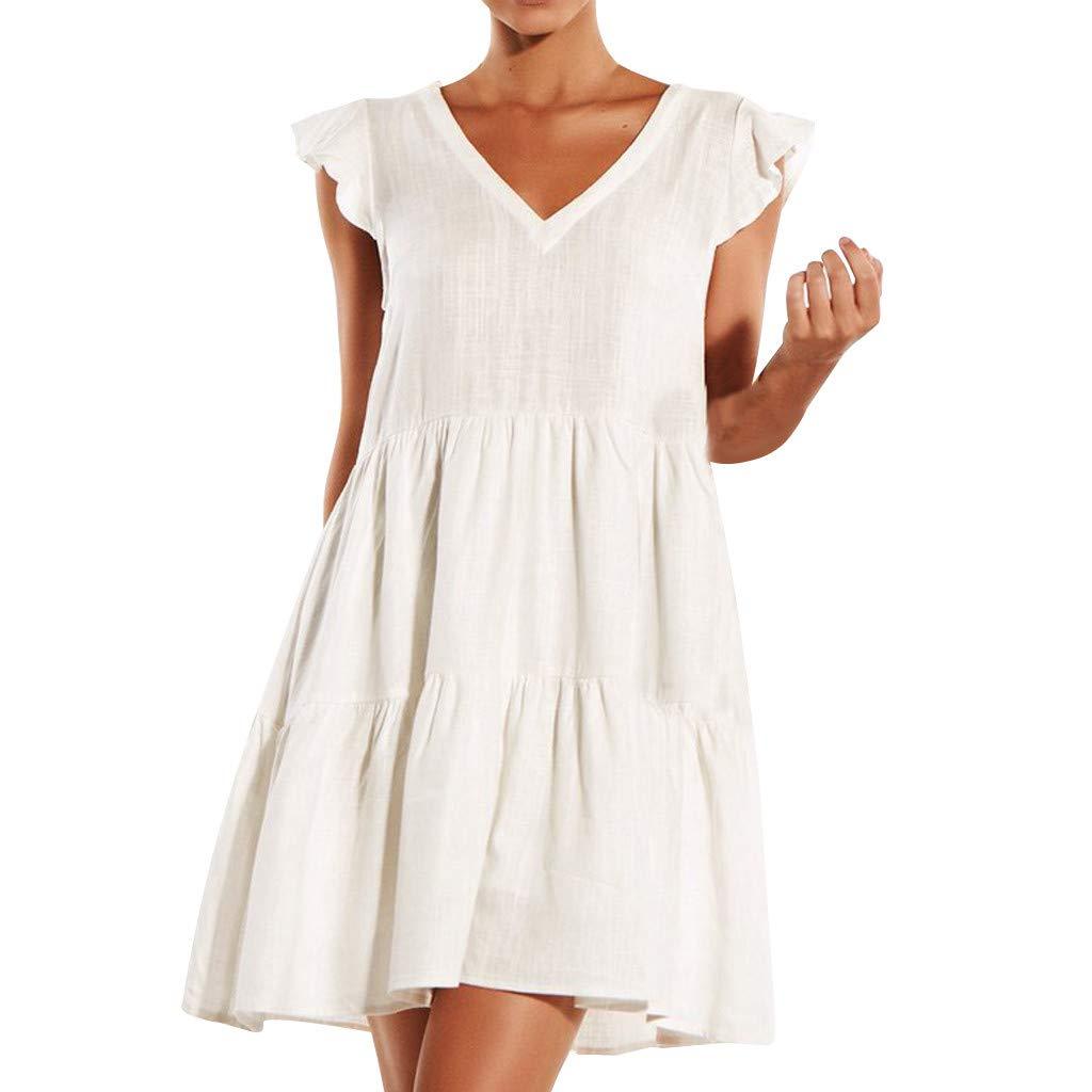 86e6a492dbf3 Amazon.com: kemilove Womens Small Flying Sleeve V-Neck Swing Loose Casual  Dress: Clothing
