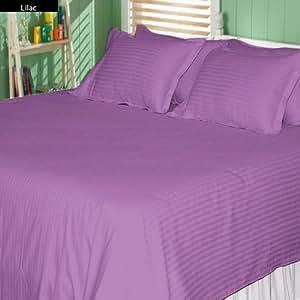 100% Egyptian Cotton 28 Inch Deep Pocket 600 TC Stripe Pattern 4 Pcs Sheet Set (Full XL , Lilac )