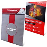Fire Resistant Document Bag 15'' by 11'' Heavy Duty Fiberglass - Retardant Thread - Fireproof Safe Storage Pouch Money / Bank File / Passport / Legal Documents - Retardant Envelope Heat Protection