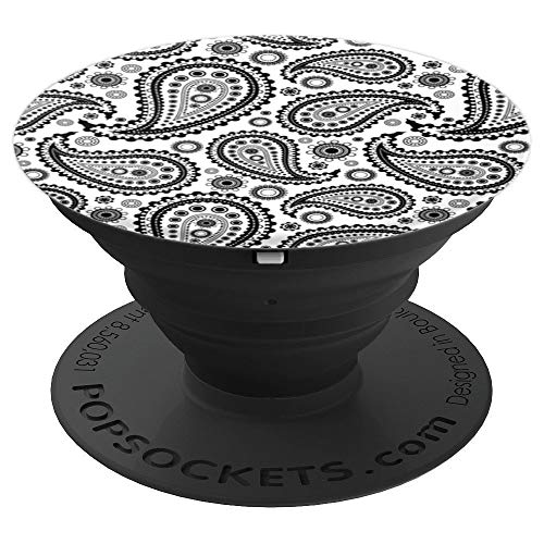 Black and White Paisley Bandana Print - PopSockets Grip and Stand for Phones and Tablets
