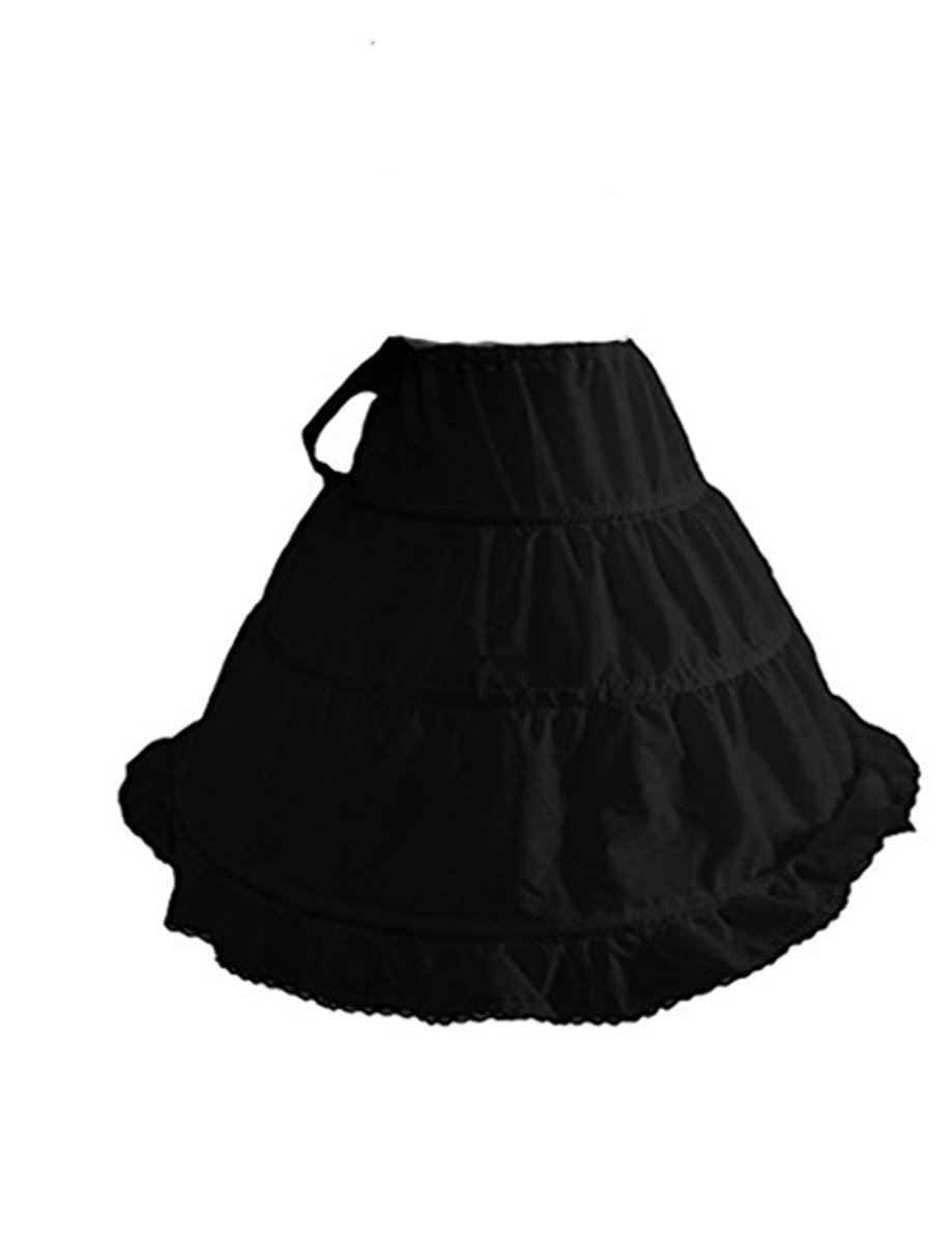 Dobelove Girls 3-Hoop/ 2 Hoops Ball Gown Flower Girl Crinoline Black Petticoat Skirt