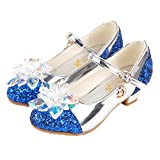 pit4tk Girl's shoes Princess Cosplay Performance Shoes Sequins Dress Shoes Low Heeled (Blue 27/10 M US Toddler)
