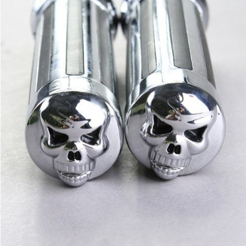 Excellent 2x Motorcycle Custom Chrome Billet Aluminum Skull Hand Grips Universal Fit Motorcycle 1