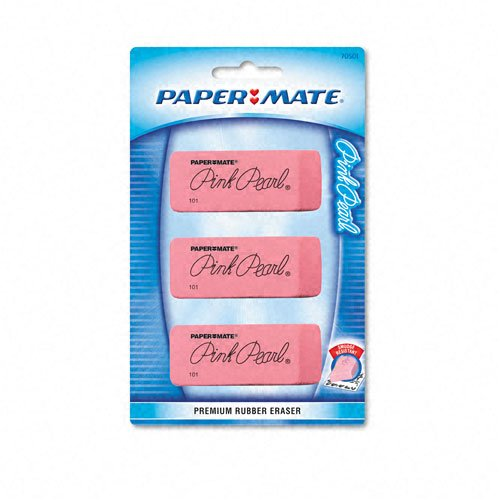 Paper Mate : Pink Pearl Eraser, Large, Three per Pack -:- Sold as 2 Packs of - 3 - / - Total of 6 Each