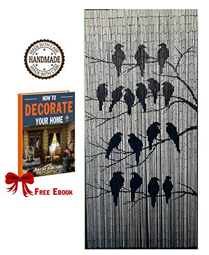 TACHILC Bamboo Beaded Curtain for Doorway, Beaded Curtain for Closets, Bamboo Door Beads Hanging Decoration, Hippie Beads for Doorways 35.5 inches x 78 inches - The Birds ()