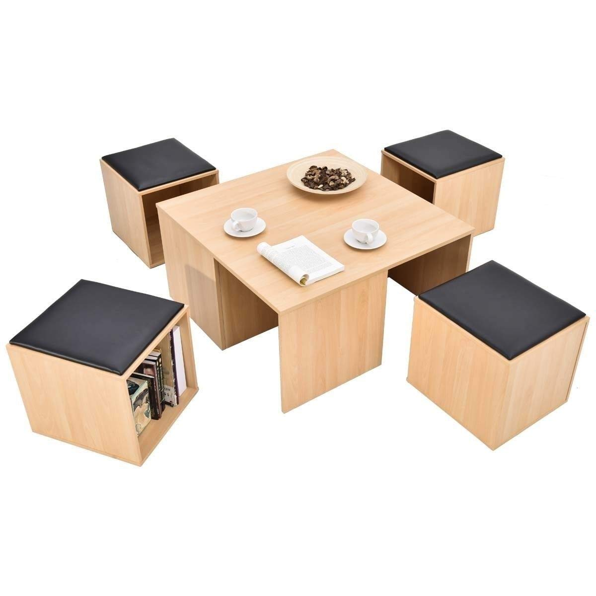 5 Piece Meal Stand Set Wood Square Top with 4 Black Filled Chest Stools for Saloon Kitchen Compact Design