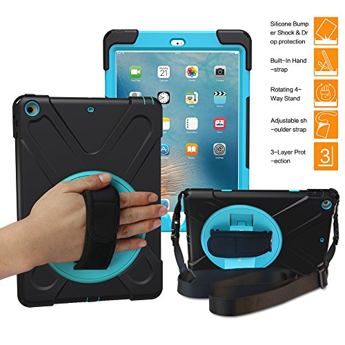 iPad 9.7 2018/2017 Case, BRAECN Three Layer Heavy Duty Soft