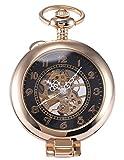 AMPM24 Unique Golden Magnifier Skeleton Mechanical Men's Pocket Watch Chain Gift WPK022
