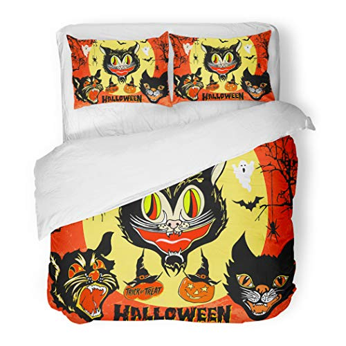 Emvency Bedding Duvet Cover Set Full/Queen (1 Duvet Cover + 2 Pillowcase) Halloween of Angry Black Cat Head Masks On Full Moon and Orange Sky Spooky Branches Hotel Quality Wrinkle and Stain Resistant for $<!--$98.90-->