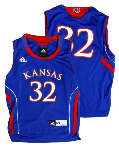 Kansas Jayhawks NCAA #32 Kids Replica Jersey, Royal Blue (Medium (5/6))