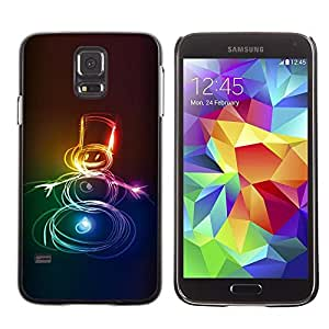 Be Good Phone Accessory // Dura Cáscara cubierta Protectora Caso Carcasa Funda de Protección para Samsung Galaxy S5 SM-G900 // Neon Snowman Christmas Xmas Winter