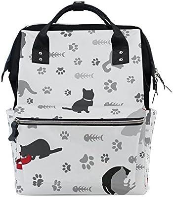 TIZORAX - Mochila para gatos con huella de huella de huella de pájaro, gran capacidad, multifunción, para pañales, viajes, mamá, mochila para el cuidado del ...