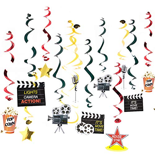 Stechop Movie Night Party Supplies Hanging Swirl Decorations Birthday Party Decor Ceiling Streamers]()