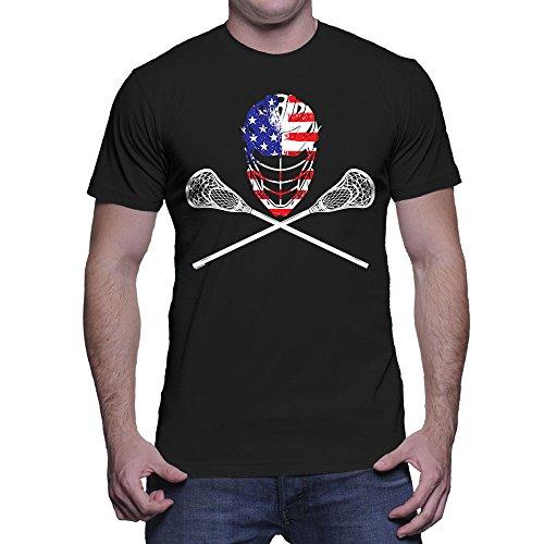 Men's Lacrosse Helmet Crossed Sticks T-Shirt (Black, Medium)
