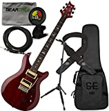 prs se 24 custom - PRS SE Custom 24 Electric Guitar Scarlet Red w/Gig Bag, Geartree Cloth, Locking Stand, Tuner, Cable, and Lock-it Strap