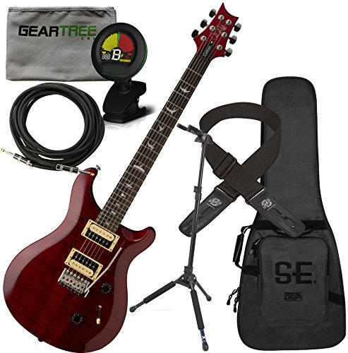 - PRS SE Custom 24 Electric Guitar Scarlet Red w/Gig Bag, Geartree Cloth, Locking Stand, Tuner, Cable, and Lock-it Strap